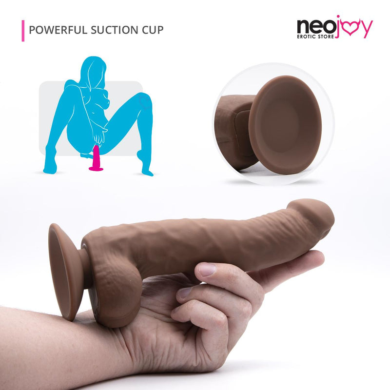 Brown Curvy Dildo | Skinlike Silicon with Suction Cup | Neojoy -Main1
