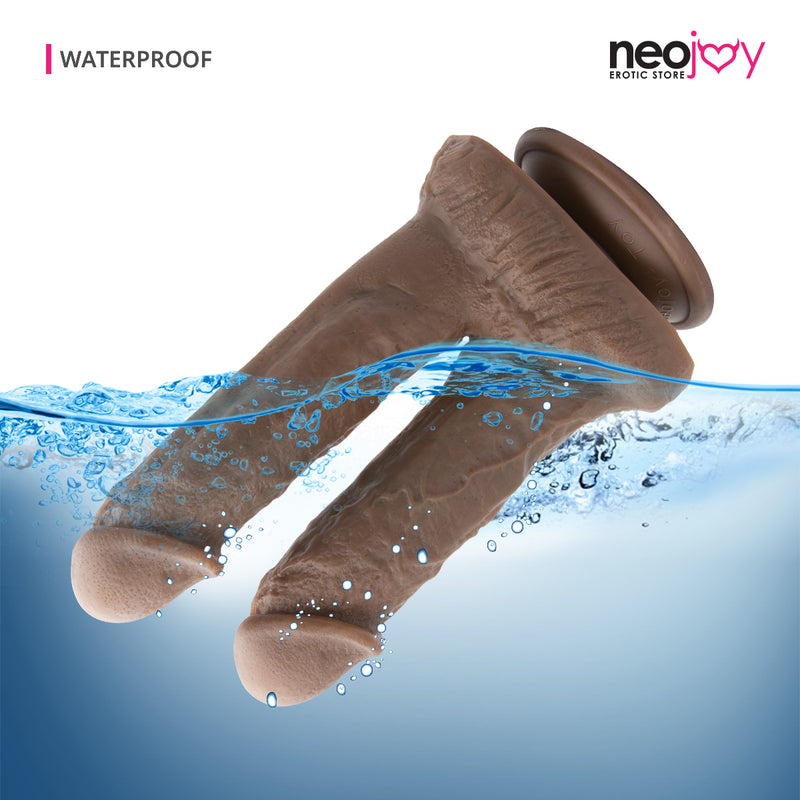 Neojoy - Double Brown - Realistic Dildo Dual Dong -Strong Suction Cup and Balls - Lifelike G-spot Anal Penetration Sex Toy