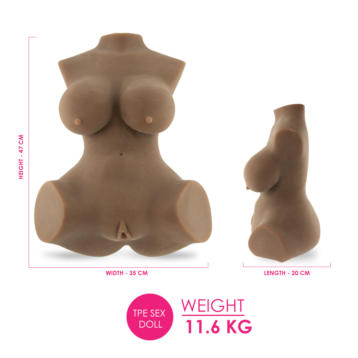 Geiko B Sex Love Doll (Brown) 11.6KG - TPE - 47cm - Brown