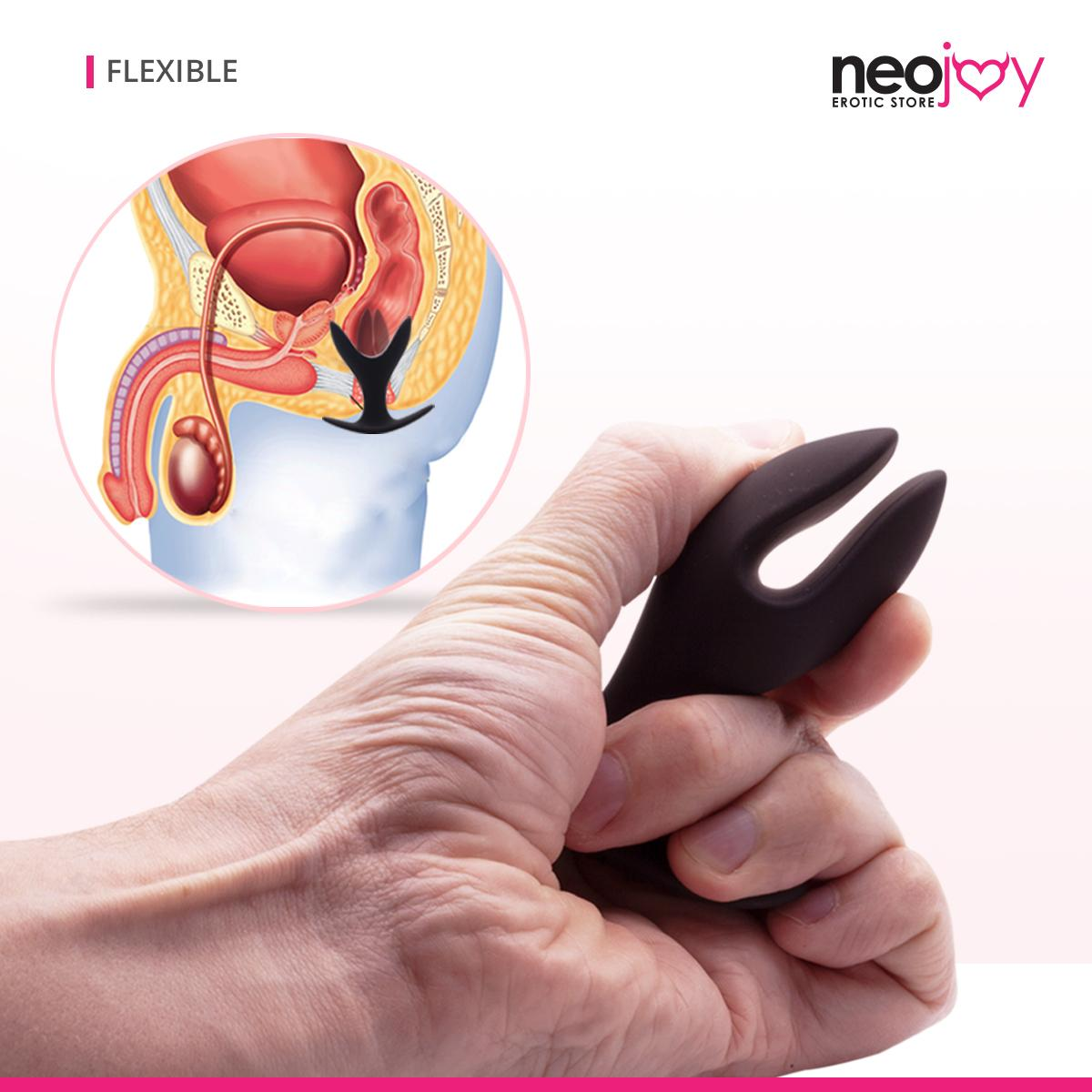 Neojoy Expandable Butt plug Silicone Black With Flat Base Small - Flexible