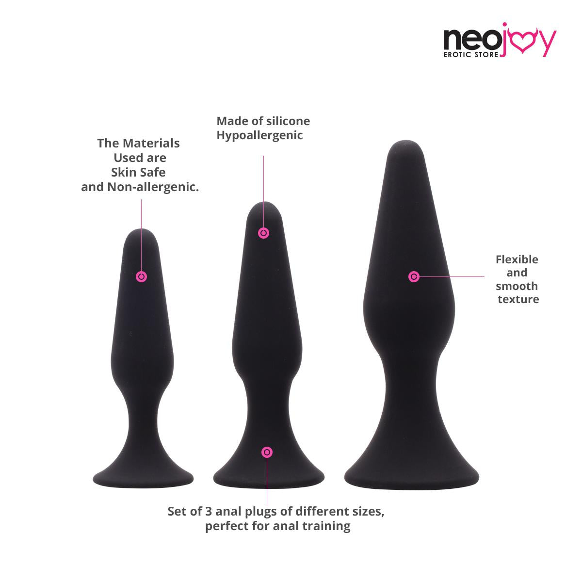 Neojoy Triple Butt Plug set - 3 sizes - lucidtoys.com