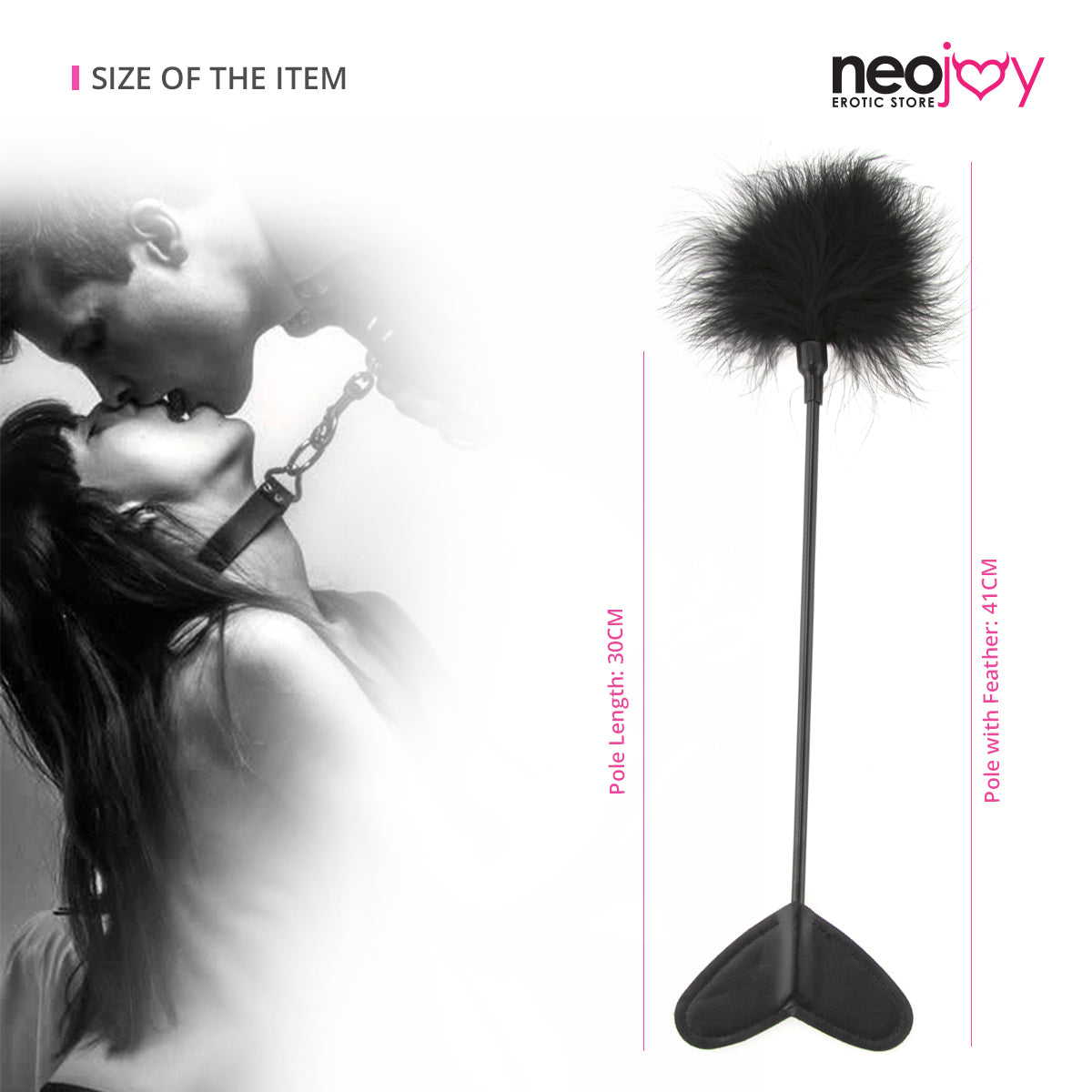 Neojoy Feather Fluffy Crop Tickler Double Ended With Silicone & Feathers - Black 16.14 inch - 41cm 5