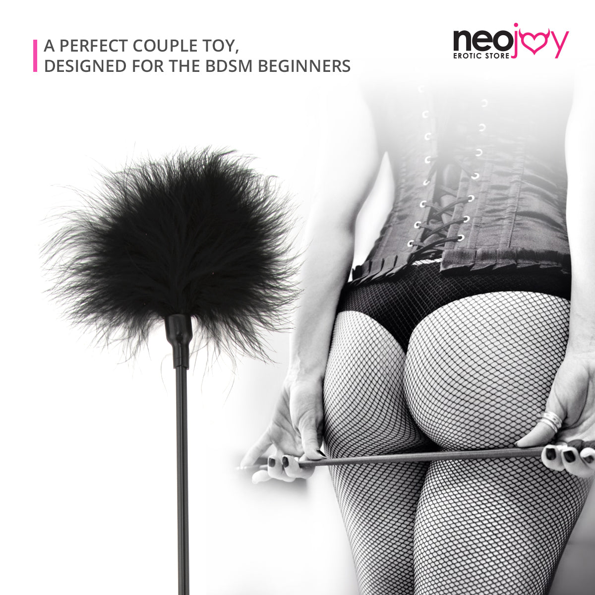 Neojoy Feather Fluffy Crop Tickler Double Ended With Silicone & Feathers - Black 16.14 inch - 41cm 3