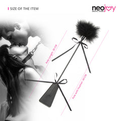 Neojoy Fancy Tickler Double ended with Silicone and Feathers - Black 15.74 inch - 40cm 1