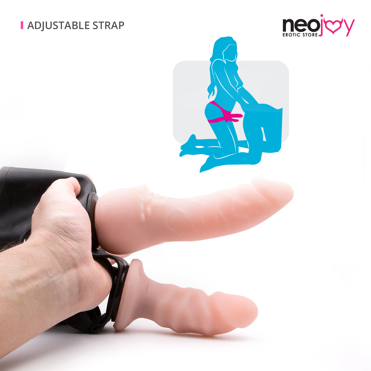 Neojoy - Ride-On - Realistic Double Dildo Strap-On Harness – 16.5cm – 6.49 inch