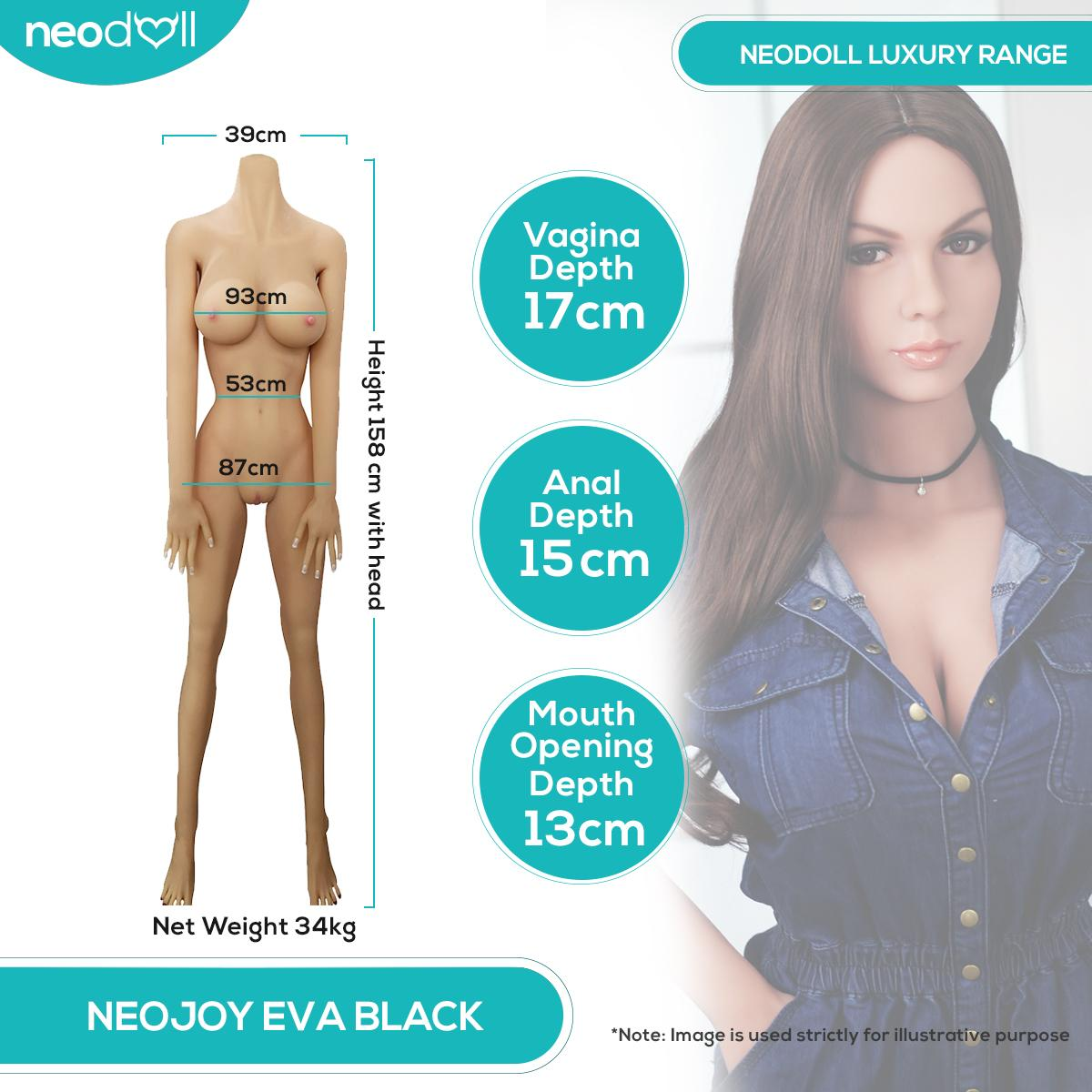 Neodoll Luxury Eva Black - Realistic Sex Doll - 158cm
