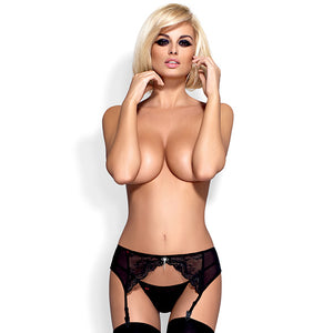 Obsessive - Charms Garter Belt & Thong Black S/M