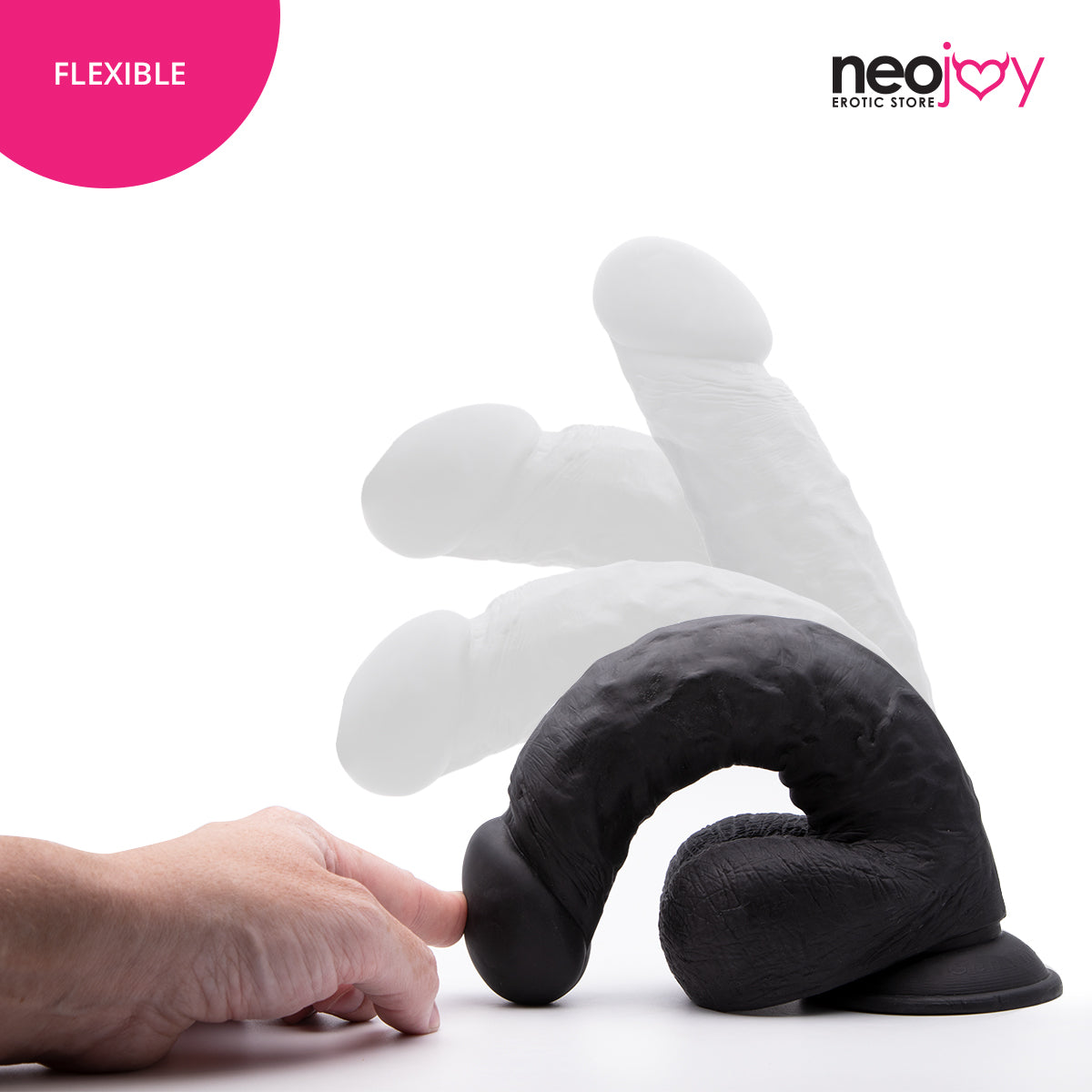 Neojoy - Girthy Lover Dildo With Strap-On Dong - Black - 25cm - 9.8 inch