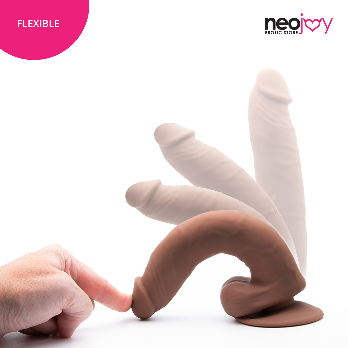 Neojoy Bigshot Realistic Dildo With Strap-On - Dong Harness Sex Toy - Brown