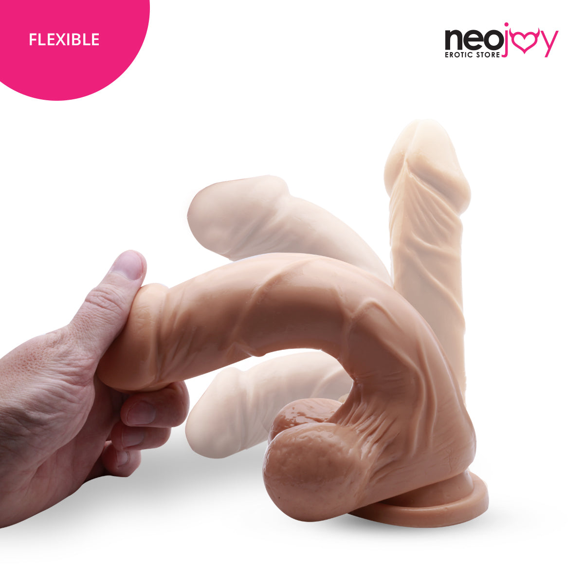 Neojoy - Super Whopper Dildo With Strap-On Dong Pegging - Flesh - 23cm - 9.1 inch