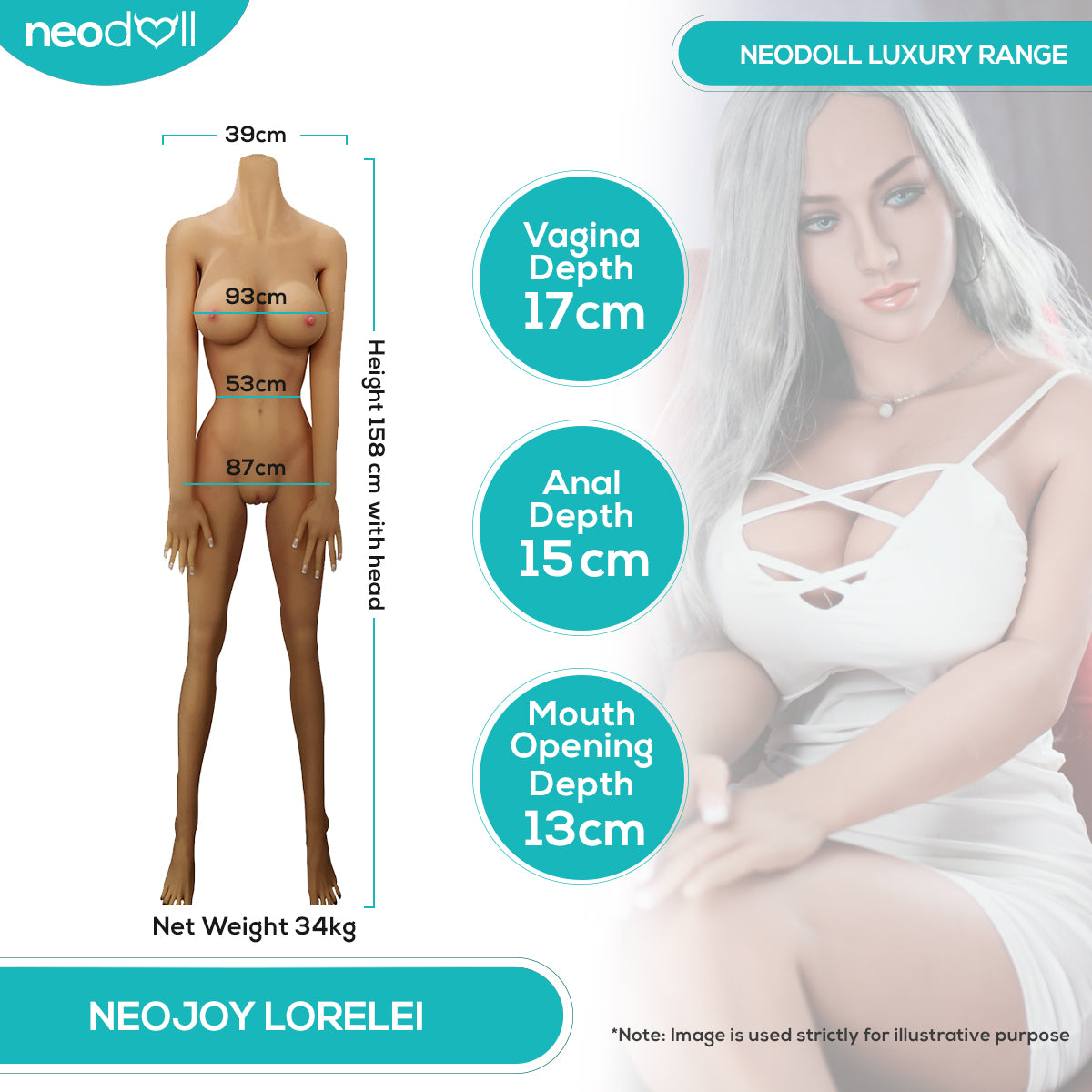 Neodoll Luxury Lorelei - Realistic Sex Doll - 165cm