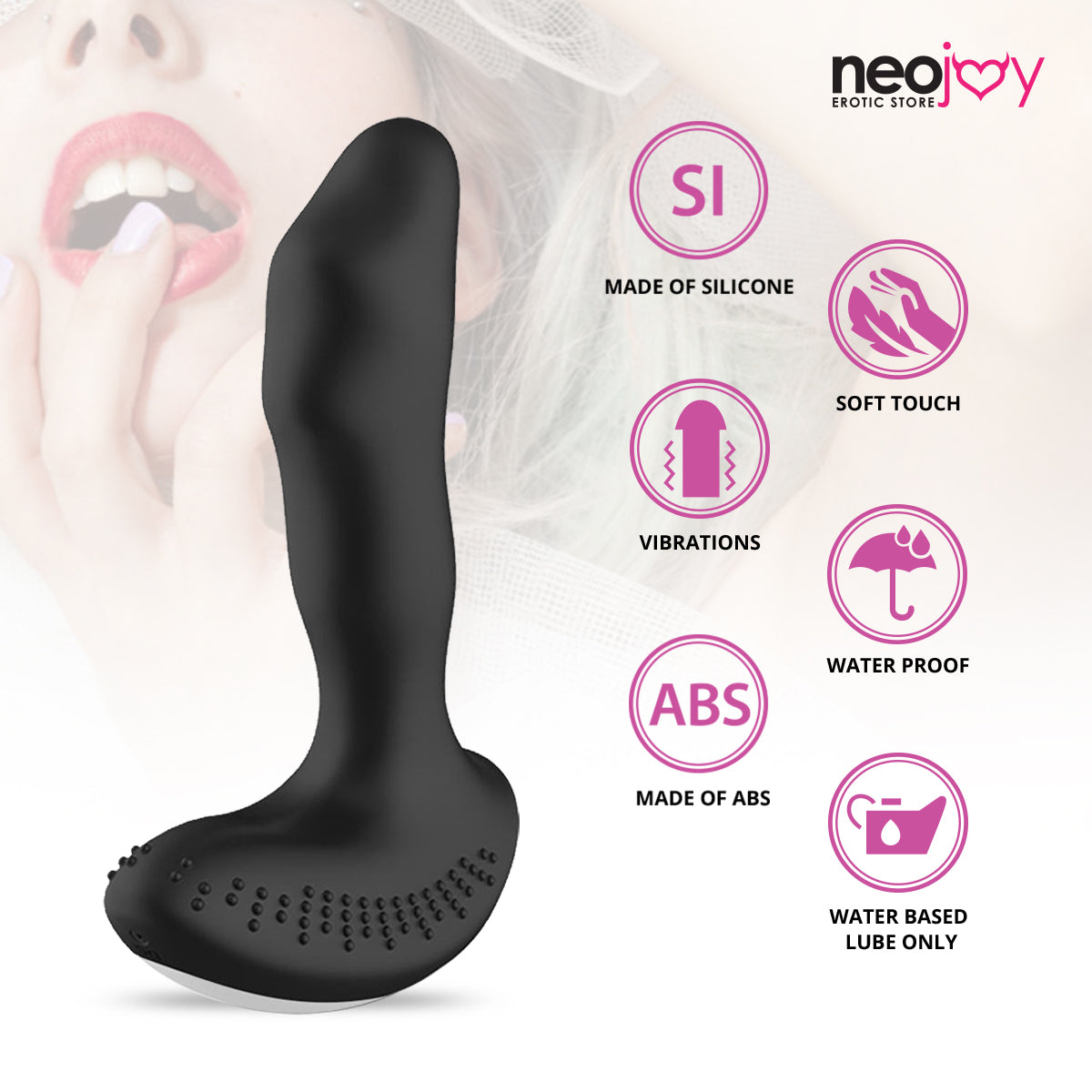 Neojoy Prostate Buzz - Silicone P-Spot Massager - App-Controlled Prostate Vibrator for Men - Anal Sex Toy