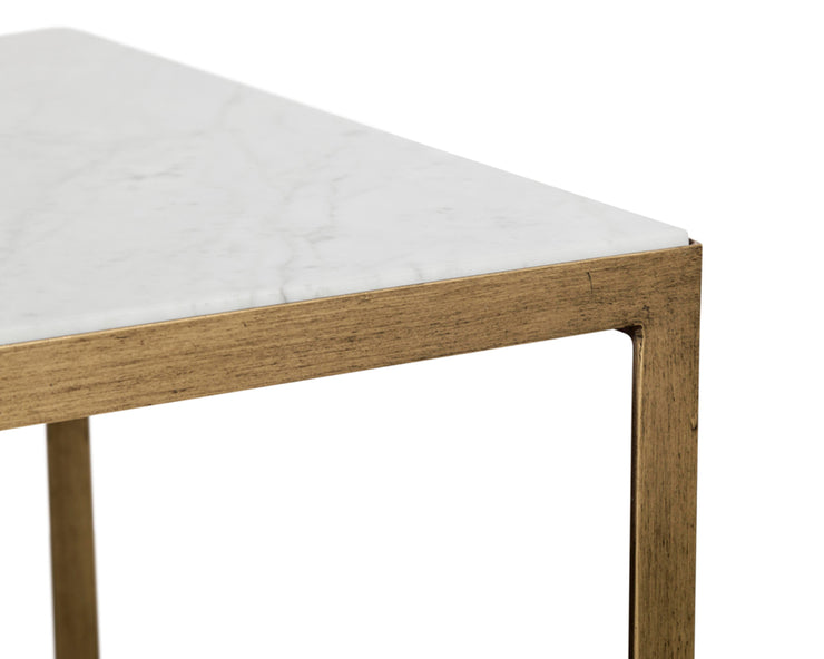 Table en marbre blanc - structure en fer fini en laiton antique