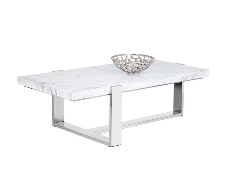 Table moderne rectangulaire en marbre blanc - base en en acier inoxydable poli