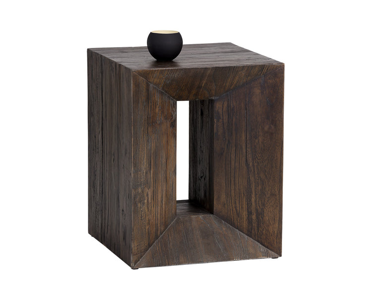 Table d'appoint contemporaine fabriquée à la main en bois d'orme brun