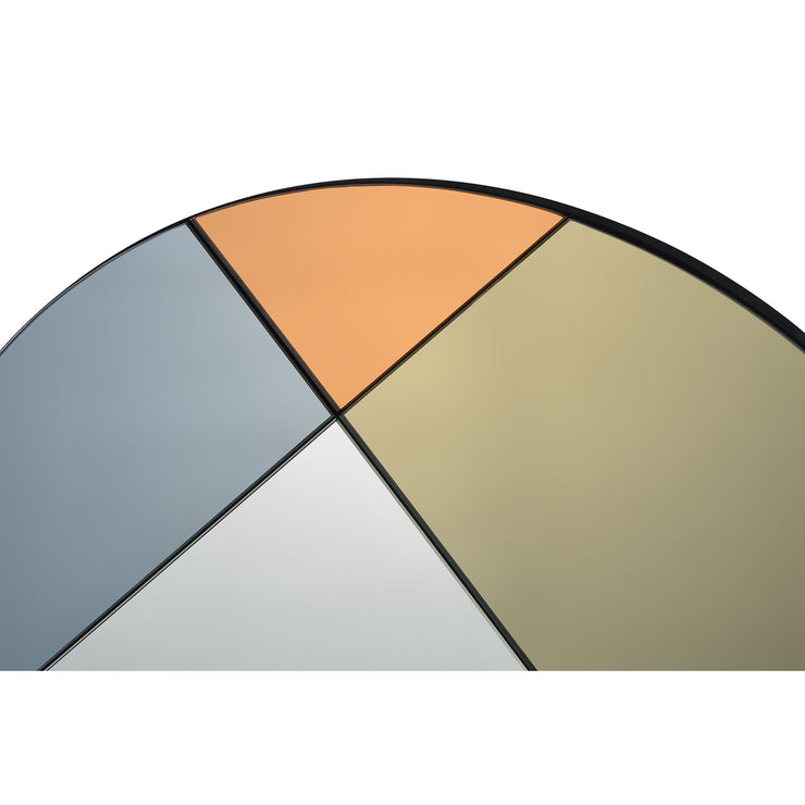 Miroir design, teinté gris, or et orange