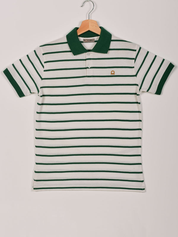 Stripped Polo: Forest Green
