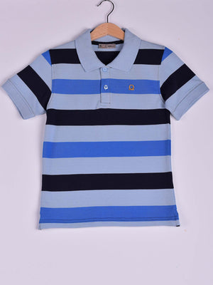 3 Colors Striped Polo: Navy Blue