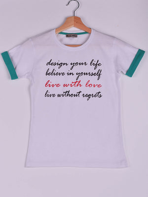 T-Shirt,White,Live With Love