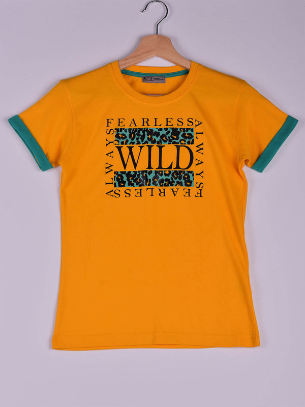 T-Shirt, Yellow, Fearless, Wild