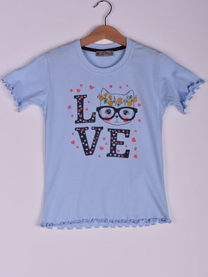 T-Shirt: Baby Blue: Cat, Sunglasses, Love