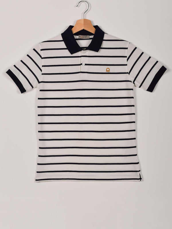 2 Colors Stripped Polo: Navy Blue