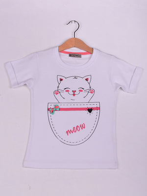T-Shirt: White: Kitten (Meow)