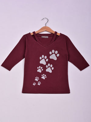 Top: Burgundy: Paws