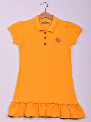 Polo Dress: Mini Flowers: Yellow