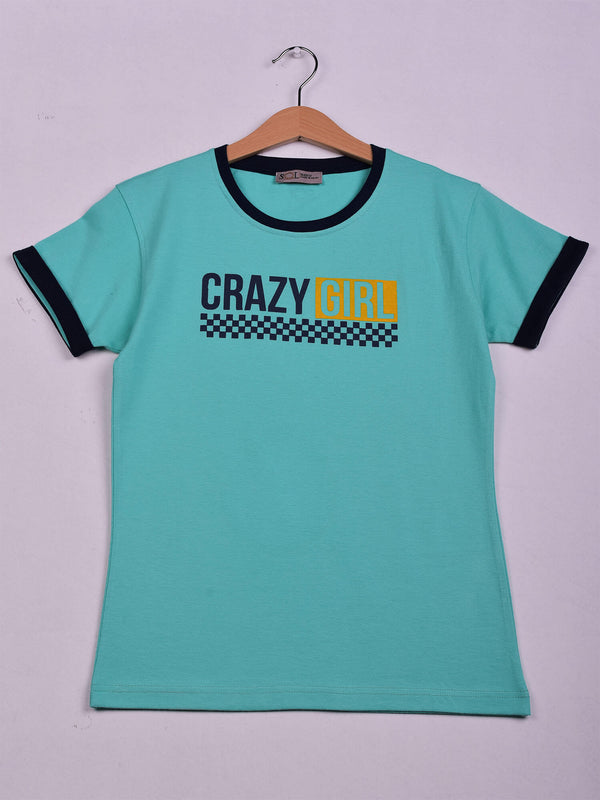 T-Shirt, Pistache, Crazy Girl