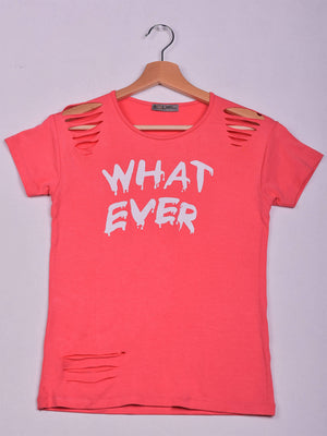 T-Shirt: Coral: What Ever