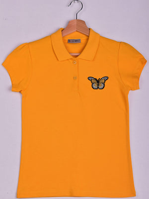 Polo,Yellow,3D Butterfly