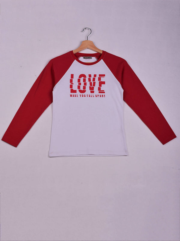 Raglan T-Shirt,Red, LOVE