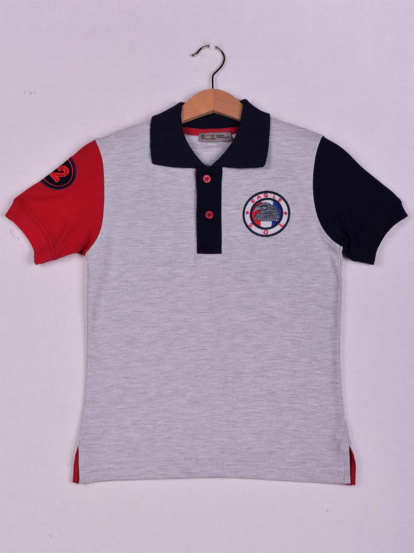SOL Color Block Polo: Grey Chine