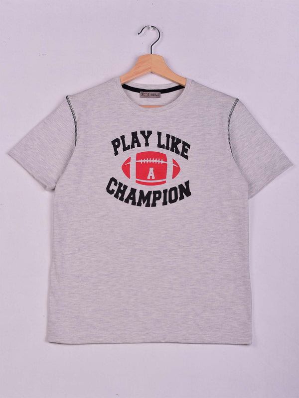 T-Shirt: Grey Chine: Play Like A Champion