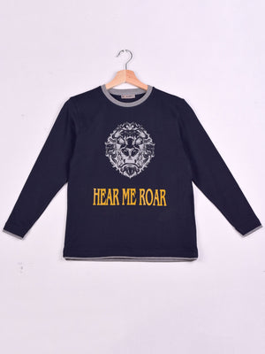 T-Shirt: Navy Blue: Roar