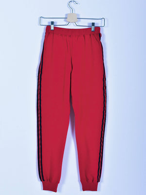 Sweatpants: Red: Navy Blue Stripe