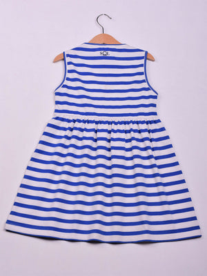 Dress: White x Navy Blue Stripes