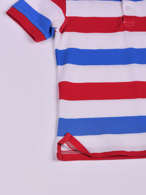 3 Colors Striped Polo: Marlboro Red