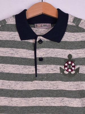 Striped Polo:Forest Green: Anchor