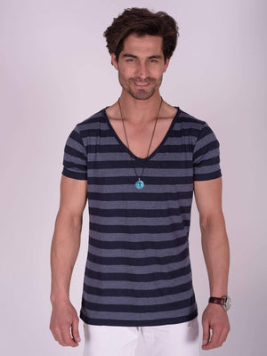 ESSENTIAL Wide V Neck FANCY STRIPPED T-Shirt