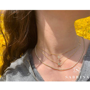 Trendy Yellow Gold Diamond Necklaces