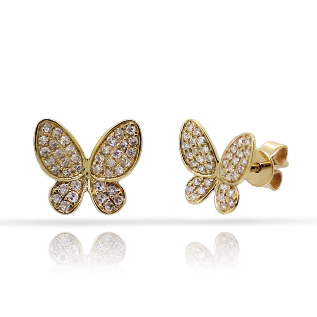 Trendy 14K Gold and Diamond Butterfly Earrings