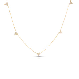 14k Gold & Diamond Heart Station Necklace