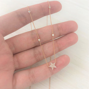 14k Gold & Diamond Star Necklace