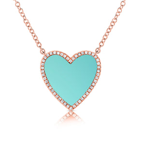 14k Gold & Turquoise Heart Necklace