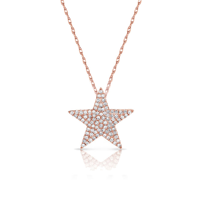 Sabrina Designs 14K Pink Gold Diamond Pave Star Necklace