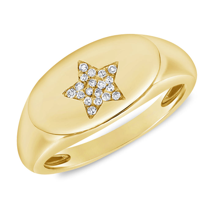 Sabrina Design 14K Yellow Gold Diamond Star Signet Ring