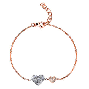 14k Gold & Diamond Double Heart Bracelet