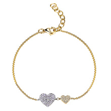 Load image into Gallery viewer, 14k Gold & Diamond Double Heart Bracelet